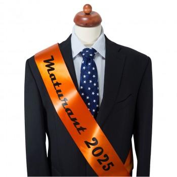 Maturitní šerpa tmavě oranžová - saténová